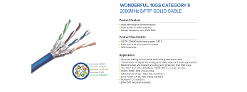 WONDERFUL 40GS CATEGORY 8 2000MHz S/FTP SOLID CABLE